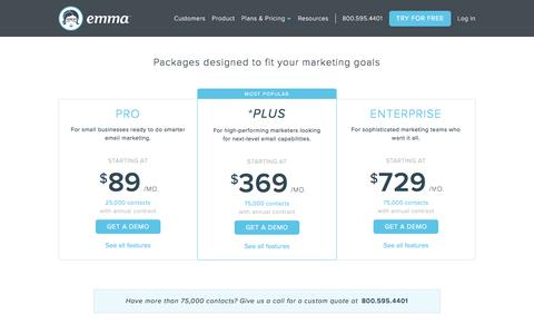 Screenshot of Pricing Page myemma.com - Emma Email Pricing   Emma Email Marketing - captured March 28, 2017