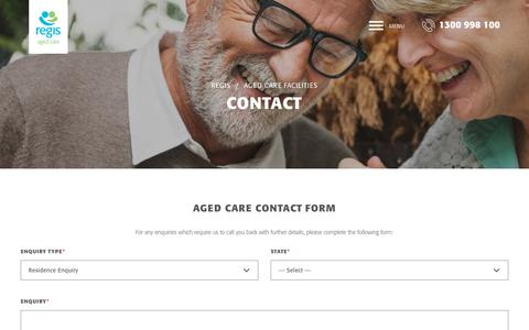 Screenshot of Contact Page regis.com.au - Contact Us | Regis Aged Care | Aged Care Services - captured May 23, 2018
