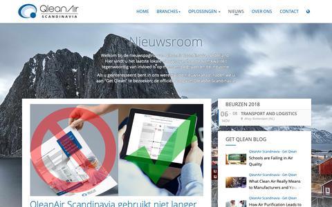 Screenshot of Press Page qleanair.com - Niewsroom - captured Oct. 23, 2018