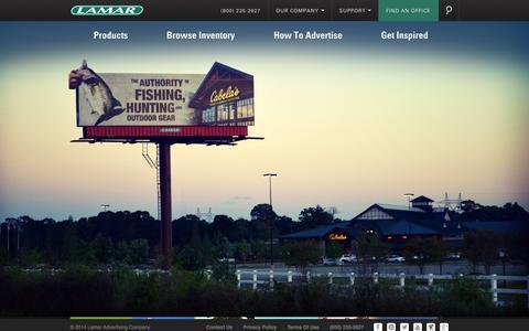 Screenshot of Home Page lamar.com - Lamar Advertising | The Nation's Largest Billboard, Digital and Transit Advertising Media Provider - captured Sept. 24, 2014