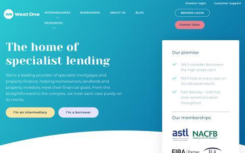 Screenshot of Home Page westoneloans.co.uk - Specialist Finance Mortgage Lender - West One Loans - captured Aug. 23, 2019