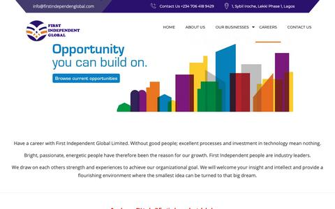 Screenshot of Jobs Page firstindependentglobal.com - Careers – First Independent Global Limited - captured Nov. 14, 2018