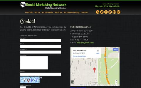 Screenshot of Contact Page mysmn.com - Contact Us for a Free Quote | MySMN San Diego - Call 877.576.9766! - captured Oct. 26, 2014