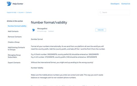 Number format/validity – Support & Help