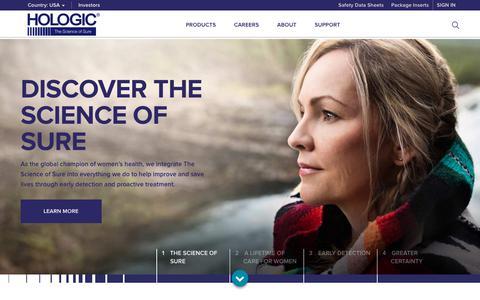 Screenshot of Home Page hologic.com - Hologic: Breakthrough Diagnostic & Medical Imaging Solutions - captured Aug. 10, 2018