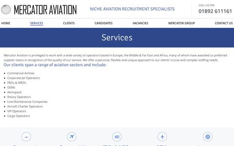 Screenshot of Services Page mercatoraviation.com - Services - Mercator Aviation Recruitment - captured Nov. 19, 2016