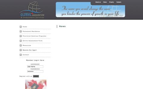 Screenshot of Press Page global-imm.ca - Global Immigration & Investment Services - captured Oct. 2, 2014