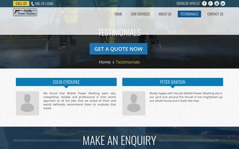 Screenshot of Testimonials Page mobilepowerwashing.ie - Testimonials - Mobile Power Washing   Commercial Power Washing Dublin - captured June 18, 2017