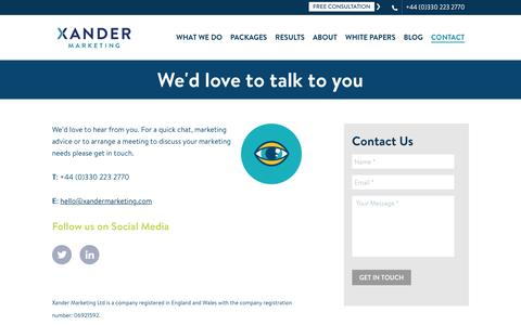 Contact Xander Marketing | +44 (0)330 223 2770