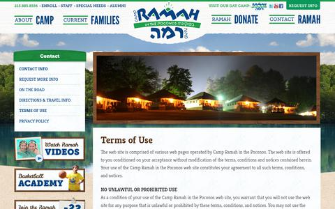 Screenshot of Terms Page ramahpoconos.org - Terms of Use | Camp Ramah in the Poconos - captured July 14, 2017