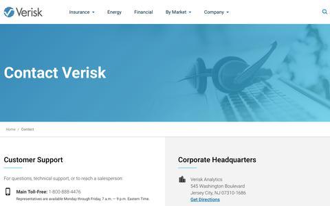 Screenshot of Contact Page verisk.com - Contact | Verisk Analytics - captured Jan. 7, 2020