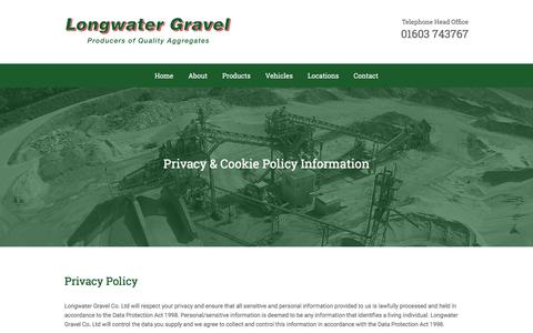 Screenshot of Privacy Page longwatergravel.co.uk - Privacy Policy - captured Feb. 1, 2016