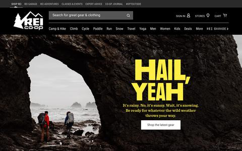 Screenshot of Home Page rei.com - REI Co-op: Outdoor Clothing, Gear and Footwear from Top Brands - REI.com - captured March 22, 2018
