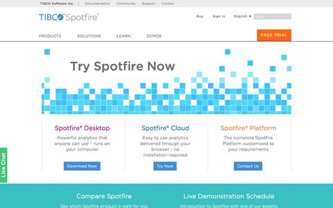 Screenshot of Trial Page tibco.com - TIBCO Spotfire - Try Spotfire Now - captured June 16, 2016