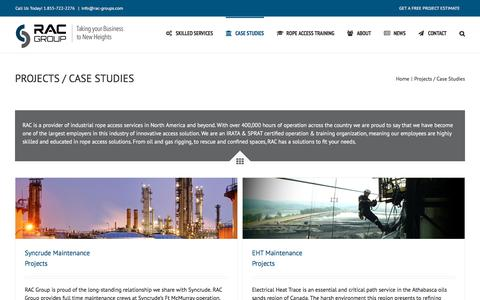 Screenshot of Case Studies Page rac-int.com - Projects / Case Studies – RAC Group - captured Oct. 18, 2017