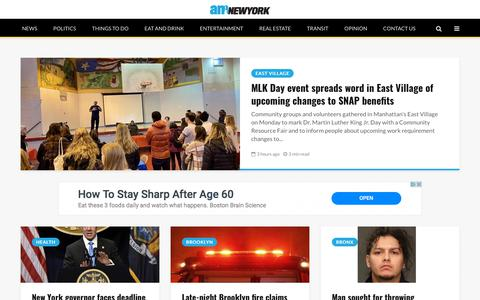 Screenshot of Home Page amny.com - New York City News: Latest Headlines, Videos & Pictures | am New York - captured Jan. 21, 2020