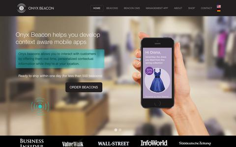 Screenshot of Home Page About Page onyxbeacon.com - OnyxBeacon iBeacon™ hardware for micro location and context. iBeacon™ CMS for retailers - captured Sept. 24, 2014