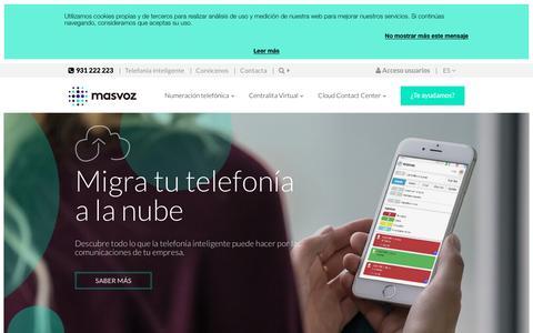 Screenshot of Home Page masvoz.es - masvoz | Soluciones de Telefonía Inteligente para empresas - captured May 10, 2017