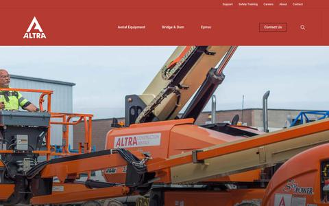 Screenshot of About Page altrarentals.com - Altra Construction Rentals   Construction Equipment   1.855.659.2577 - captured Oct. 3, 2018