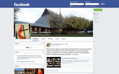 Screenshot of Facebook Page facebook.com - Fumc Commerce - Commerce, Texas - Religious Organization | Facebook - captured Oct. 23, 2014