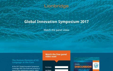 Screenshot of Landing Page lionbridge.com - Lionbridge - Global Innovation Symposium Panel 2017 [Gated] [EN-US] - captured May 6, 2018