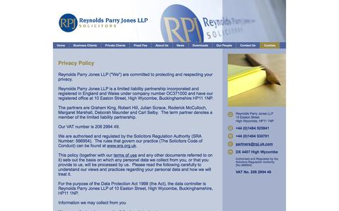 Screenshot of Privacy Page rpj.uk.com - Privacy Policy and Disclaimer : Reynolds Parry Reynolds Parry Jones LLP Solicitors - captured Oct. 9, 2014