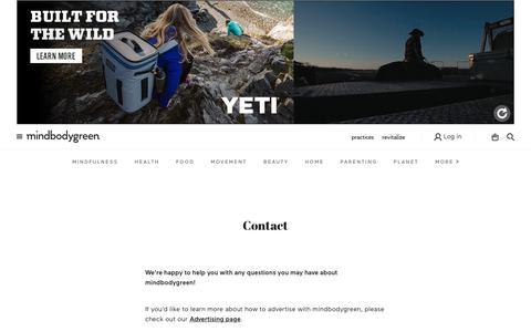 Screenshot of Contact Page mindbodygreen.com - Contact Us - mindbodygreen - captured March 23, 2019