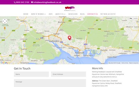 Screenshot of Contact Page workingfeedback.co.uk - Contact Us - Working Feedback - captured Sept. 22, 2015