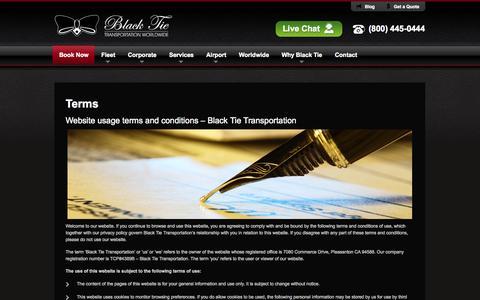 Screenshot of Terms Page blacktietrans.com - Terms - captured Nov. 3, 2014