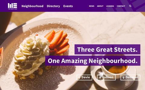 Screenshot of Home Page westendbia.com - West End Business Improvement Association - captured Feb. 2, 2016