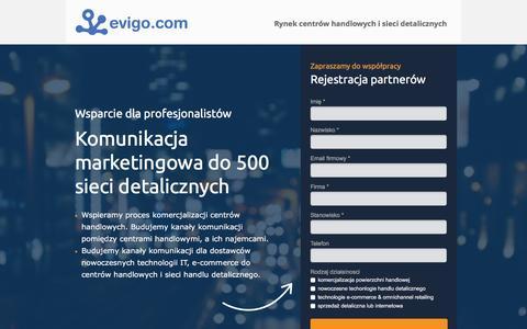 Screenshot of Home Page evigo.com - Evigo.com - rynek centrów handlowych i sieci detalicznych - captured Feb. 13, 2016