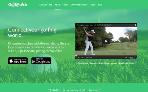 Screenshot of About Page golfmatchapp.com - About - GolfMatch - captured Jan. 31, 2016