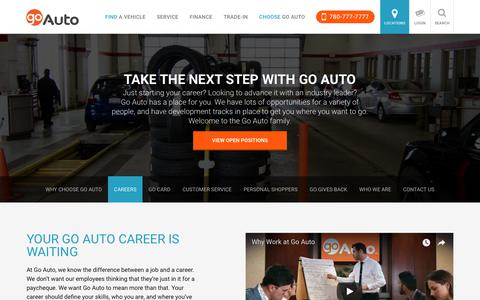 Screenshot of Jobs Page goauto.ca - New and Used Cars for sale in Edmonton | Go         Auto - captured April 23, 2018