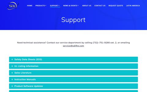 Screenshot of Support Page sdifire.com - Fire Safety - Product Support & Information | SDi Fire - captured Dec. 8, 2018