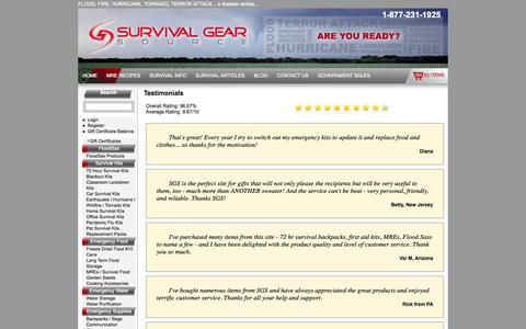 Screenshot of Testimonials Page survivalgearsource.com - Survival Gear   Survival Kits   Emergency Preparedness   Survival Pack   72 Hour Kits   Disaster Kit   Survival Gear Source NJ - captured Oct. 1, 2014