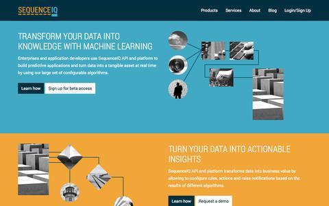 Screenshot of Home Page sequenceiq.com - SequenceIQ - captured Sept. 30, 2014