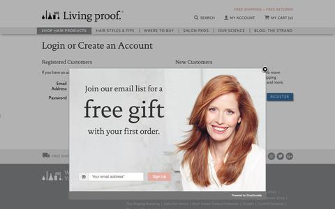 Screenshot of Login Page livingproof.com - Living Proof | Customer Login | Free Shipping - captured March 7, 2017
