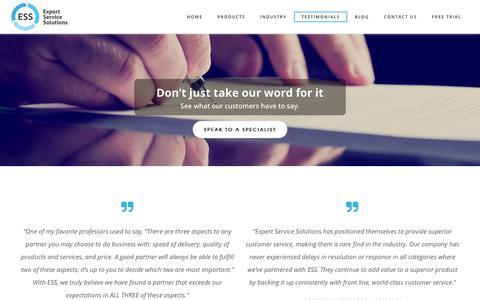 Screenshot of Testimonials Page expertservicesolutions.com - Customer Testimonials | Expert Service Solutions - captured Sept. 30, 2018