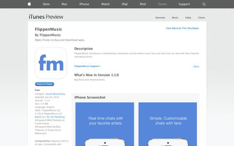 Screenshot of iOS App Page apple.com - FlippenMusic on the App Store on iTunes - captured Oct. 25, 2014