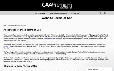 Screenshot of Terms Page caa.com - Premium Experience says... - captured May 1, 2017