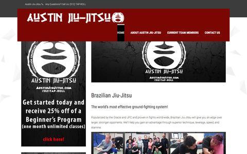 Screenshot of Home Page austinjiujitsu.com - Austin Jiu-Jitsu | Since 2003! - captured Oct. 9, 2017