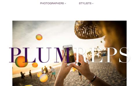 Screenshot of Home Page plumreps.com - Plum Reps: Photographer & Stylist Representatives, photography, commercial, editorial - captured July 19, 2018