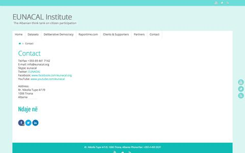 Screenshot of Contact Page eunacal.org - Contact | EUNACAL Institute - captured Oct. 17, 2016