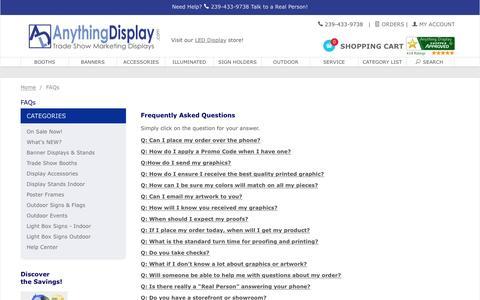 Screenshot of FAQ Page anythingdisplay.com - Anything Display: FAQs - captured May 30, 2017