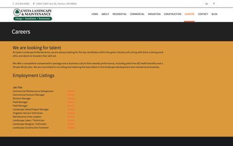 Screenshot of Jobs Page uyetalandscape.com - Careers   Uyeta Landscape & Maintenance - captured Feb. 26, 2016