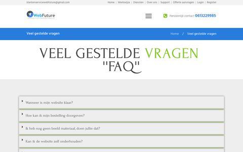 Screenshot of FAQ Page webfuture.nl - Veel gestelde vragen - Web Future - captured Oct. 20, 2018