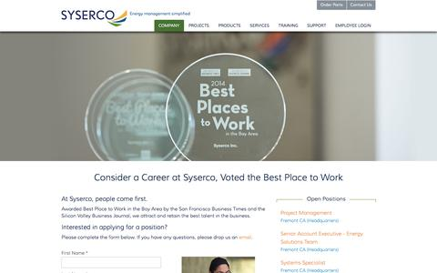 Screenshot of Jobs Page syserco.com - Careers - captured Jan. 12, 2016