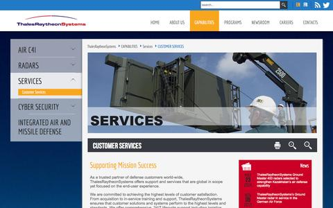 Screenshot of Services Page thalesraytheon.com - Customer Services - captured Oct. 6, 2014