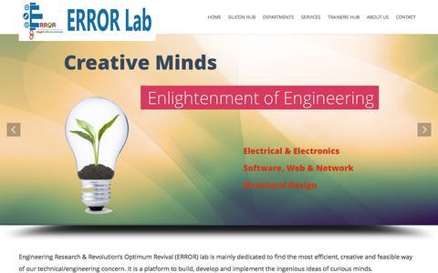 Screenshot of Home Page errorlab.com.bd - ERROR Lab | Engineering Research & Revolution's Optimum Revival (ERROR) lab - captured Jan. 26, 2015