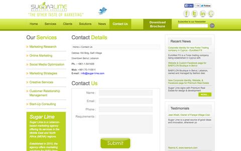 Screenshot of Contact Page Jobs Page sugar-lime.com - Contact Us - captured Oct. 26, 2014